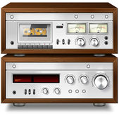 Analog Music Stereo Audio Compact Cassette Deck with Amplifier v — Stock Photo