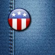 American Flag Emblem Badge On Jeans Denim Texture Vector — Stock Vector
