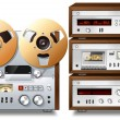 Analog Music Stereo Audio Components Vintage Rack — Stock Photo