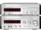 音乐立体声音频光盘 cd 播放器与隔离放大器机架 — 图库照片