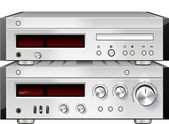 Music Stereo Audio Compact Disc CD Player with Amplifier rack isolated — Photo