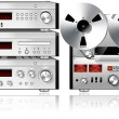 Analog Music Stereo Audio Components Vintage Rack - Stock Photo