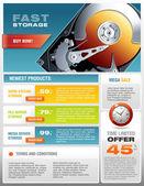 HD Hard Disk Sale Promotional Brochure Vector — Stock Vector