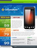 Mobile Cell Smart Phone Telecom Provider Flyer vector — Stock Vector