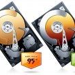 Hard disk drive HDD with price badge vector — Stock vektor