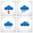 Royalty-Free Stock Vector Image: Blue Paper Cloud Weather Icons vector