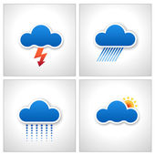 Blue Paper Cloud Weather Icons vector — Stock Vector