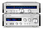 Analog musik stereo audio förstärkare och tuner vintage rack — Stockvektor
