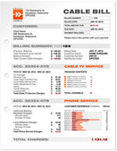 Câble service téléphone bill document sample template vecteur — Vecteur