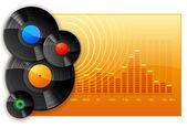 Discos de vinil dj no fundo do gráfico do analisador de espectro — Foto Stock