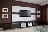 Modern Home Theater Room Interior with Flat Screen TV — Stock Photo
