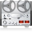 Stock Vector: vintage open reel analog stereo tape deck player recorder detailed vector