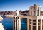 Hoover Dam Towers on Colorado River, Lake Mead — Stock Photo