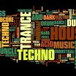Stock Vector: Electronic Techno Music Styles Word Cloud Bubble vector