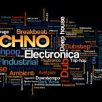 Постер, плакат: Electronic Techno Music Styles Word Cloud Bubble Tag Tree