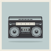 Classic 80s boombox on Retro Background Vector — 图库矢量图片
