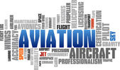 Aviation Word Cloud Blue Bubble Tags Tree Vector — Vettoriale Stock