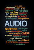 Audio Stereo Word Cloud Bubble Tag Tree Text vector — Vettoriale Stock
