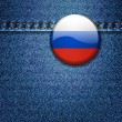 Russian Flag Badge on Denim Fabric Texture — Stock Vector #49652817