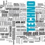 Постер, плакат: Electronic Techno Music Styles Word Cloud Bubble Tag Tree vector