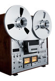 Analog Stereo Open Reel Tape Deck Recorder Vintage Isolated — Zdjęcie stockowe