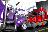 Damage two lorries — Stock Photo