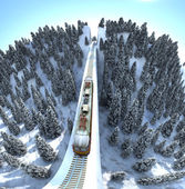 Train in mountains — Stock Photo