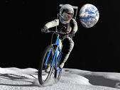 The astronaut on a bicycle — Stock Photo