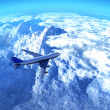 The plane over mountains — Stock Photo