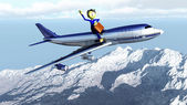 The little man and the plane — Stock Photo