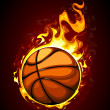 Burning basketball — Stock Vector