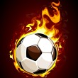 Burning soccer ball — Stock Vector