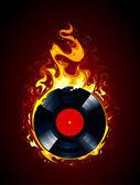 Burning vinyl record — Stock Vector