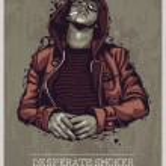 Smoker grunge image — Stock Vector