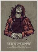 Sigara içen grunge görüntü — Stok Vektör