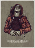 Smoker grunge image — Vector de stock