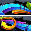 Two horizontal graffiti banners - Stok Vektr