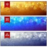 Set of horizontal luminous Christmas banners — Stock Vector