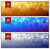 Set of horizontal luminous Christmas banners — Stock Vector