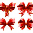 Vector set of beautiful red gift bows — Imagens vectoriais em stock
