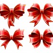 Vector set of beautiful red gift bows — Stock Vector