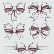 Vector set of beautiful hand drawn gift bows — Stock Vector