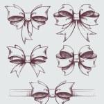 Vector set of beautiful hand drawn gift bows — Stock Vector