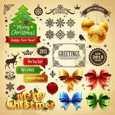Conjunto de elementos do vetor da decoração de natal — Vetor de Stock