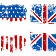 Grunge banners USA and UK national flags — Stock Vector #15642513
