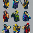 Royalty-Free Stock Vector Image: Vector set of hoody gangsters