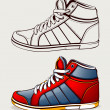 Vector shoes sneakers — Stock Vector