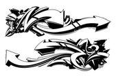 Schwarze und weiße graffiti-hintergründe — Stockvektor