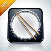 Davul müzikal app simgesi — Stok Vektör