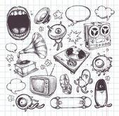 Conjunto de elementos dibujados a mano — Vector de stock